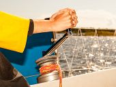 Постер, плакат: Winch Capstan With Rope On Sailing Boat