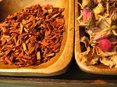 stock photo of magickal  - Sandalwood and rose petal herbs - JPG