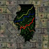 pic of illinois  - Illinois map with hex code and graphs on dollars illustration - JPG