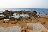 stock photo of promontory  - Ruins of Herods promontory palace pool in Caesarea Maritima National Park - JPG