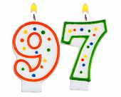 image of number 7  - Birthday candles number ninety seven isolated on white background - JPG
