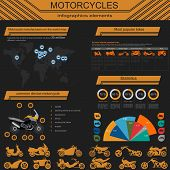 stock photo of dragster  - Set of motorcycles elements - JPG