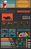 foto of dragster  - Set of motorcycles elements transportation infographics - JPG