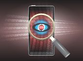 stock photo of malware  - Magnifier and virus data in phone with dark background - JPG