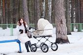 picture of buggy  - reading book young mother with baby buggy  - JPG