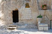 stock photo of burial  - The Garden Tomb in Jerusalem is one of the two alleged burial sites of Jesus Christ - JPG