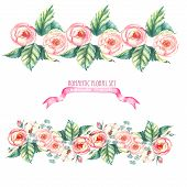 pic of dog-rose  - Hand drawn watercolor isolated  romantic floral compositions - JPG