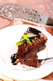 picture of torte  - slice of Prune and chocolate torte - JPG