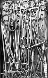 stock photo of surgical instruments  - Surgical instruments black and white close - JPG