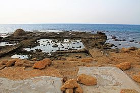 pic of promontory  - Ruins of Herods promontory palace pool in Caesarea Maritima National Park - JPG