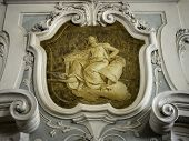 stock photo of neo-classic  - the ornament of a fireplace hood in a Venetian neo classical villa - JPG