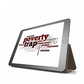 picture of poverty  - Poverty trap word cloud on tablet image with hi - JPG