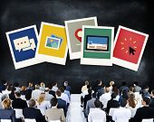stock photo of polaroid  - Polaroid Paper Instant Camera Photography Media Concept - JPG