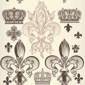 picture of fleur de lis  - Heraldic  pattern with fleur de lis and crowns - JPG
