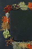 foto of saffron  - different spices on a black background  - JPG