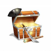 stock photo of treasure chest  - Pirate wooden treasure chest trunk with gold spy glass cutlass and black triangle hat abstract vector illustration - JPG