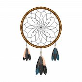 stock photo of dream-catcher  - Native american indian magical  dream catcher with sacred feathers to filter thoughts icon sketch abstract vector illustration - JPG