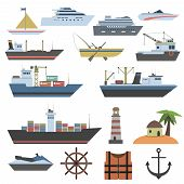 pic of passenger ship  - Ships and sailing vessels flat decorative icons set with marine symbols isolated vector illustration - JPG