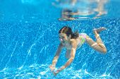 picture of swimming  - Happy child swims in pool underwater - JPG