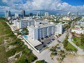 foto of drone  - Aerial Miami Beach drone photo taken over the ocean - JPG