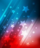 picture of star shape  - Blue and red background with stars for 4 july EPS10 file with transparent objects - JPG