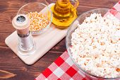 picture of popcorn  - popcorn and ingredients cooking popcorn top view