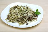 image of pesto sauce  - Pasta with beef pesto sauce and cheese - JPG