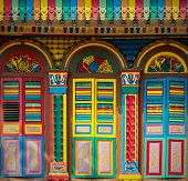 image of colorful building  - Colorful facade of building in Little India Singapore - JPG