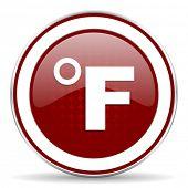 stock photo of fahrenheit thermometer  - fahrenheit red glossy web icon - JPG