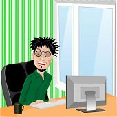 stock photo of programmers  - crazy smiling programmer with glasses and wild hair sitting in computer chair working with computer at home in living room - JPG