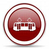 picture of tram  - tram red glossy web icon - JPG