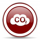 stock photo of carbon-dioxide  - carbon dioxide red glossy web icon