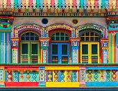 picture of colorful building  - Colorful facade of building in Little India Singapore - JPG