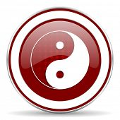 picture of ying-yang  - ying yang red glossy web icon - JPG