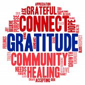 stock photo of gratitude  - Gratitude word cloud on a white background - JPG