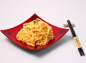 picture of carbonara  - spaghetti carbonara served on a white blackground - JPG