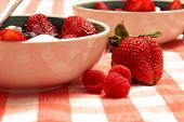 picture of fruit bowl  - A bowl of delicious fresh fruit and Neapolitan ice cream served as a gourmet dessert after a hearty meal. ** Note: Shallow depth of field - JPG