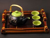 pic of serving tray  - Asian tea set served on a bamboo tray - JPG