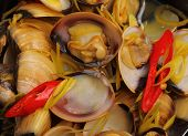 picture of clam  - herbal clam soup Vietnam style close up - JPG