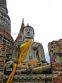 image of piety  - Buddha ancient  at Yai Chai Mong Kol temple - JPG