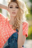 stock photo of big-girls  - Very beautiful blonde girl with big brown eyes - JPG
