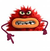 stock photo of ugly  - cute cartoon hairy ugly monster 3 d - JPG