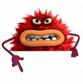 image of ugly  - cute cartoon hairy ugly monster 3 d - JPG