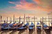 picture of gondola  - Gondolas on Grand Canal and San Giorgio Maggiore church in Venice - JPG