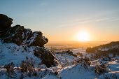 pic of leek  - Sunset over the Ramshaw Rocks near Leek - JPG