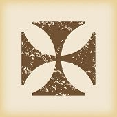 foto of maltese-cross  - Grungy brown icon with image of maltese cross - JPG