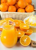 picture of pitcher  - Freshly squeezed orange juice in the pitcher and oranges on the table - JPG