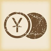 pic of japanese coin  - Grungy brown icon with image of yen coin - JPG