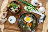 picture of sorrel  - Sorrel soup with egg and salad - JPG