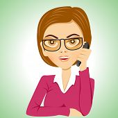 image of secretary  - illustration of cartoon strict serious secretary with glasses talking on phone - JPG